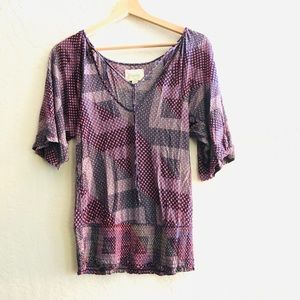 Deletta Anthropologie multicolored smocked hem top